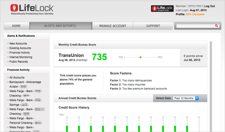 LifeLock member portal credit reports and scores